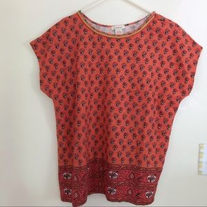 Sundance Patterned Orange Short Sleeve Top
